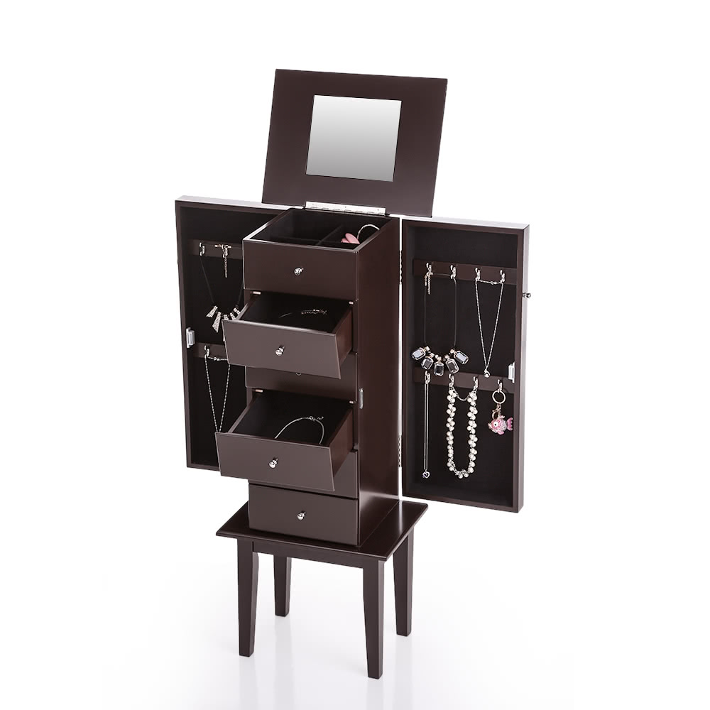 IKAYAA Antique Standing Jewelry Armoire Cabinet Flip-top Mirrored Jewelry Storage Box Organizer Chest Bedroom Furniture