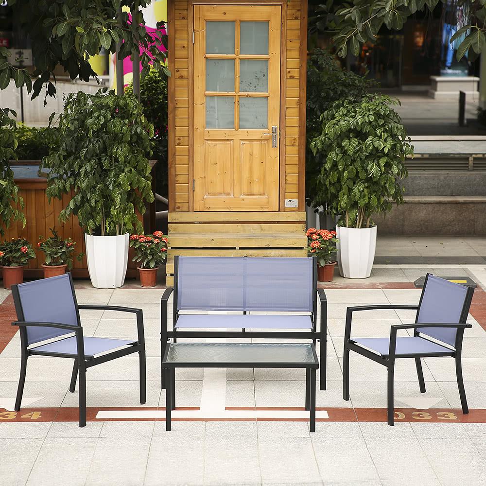 Ikayaa 4pcs patio meubles de jardin ensemble porche sofa for Liquidation meubles patio