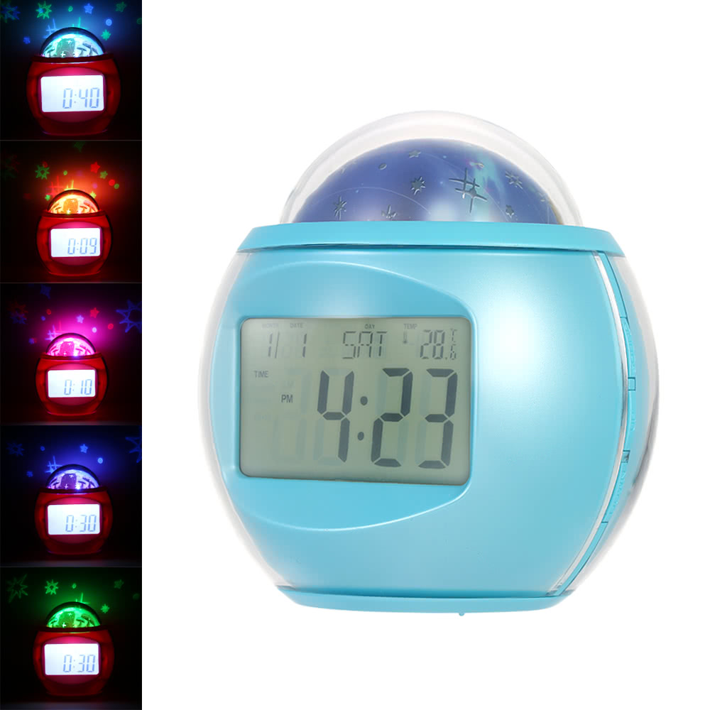 Digital alarm clock with star sky projection music clock with digital alarm clock with star sky projection music clock with backlight night light calendar thermometer timer function sales online array tomtop amipublicfo Images