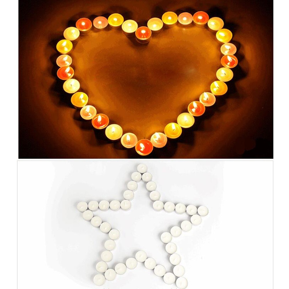 Tea Light Candles 50 Pack Unscented Tealight Candles Romantic Love Candles Bulk for Home Decor Wedding Birthday