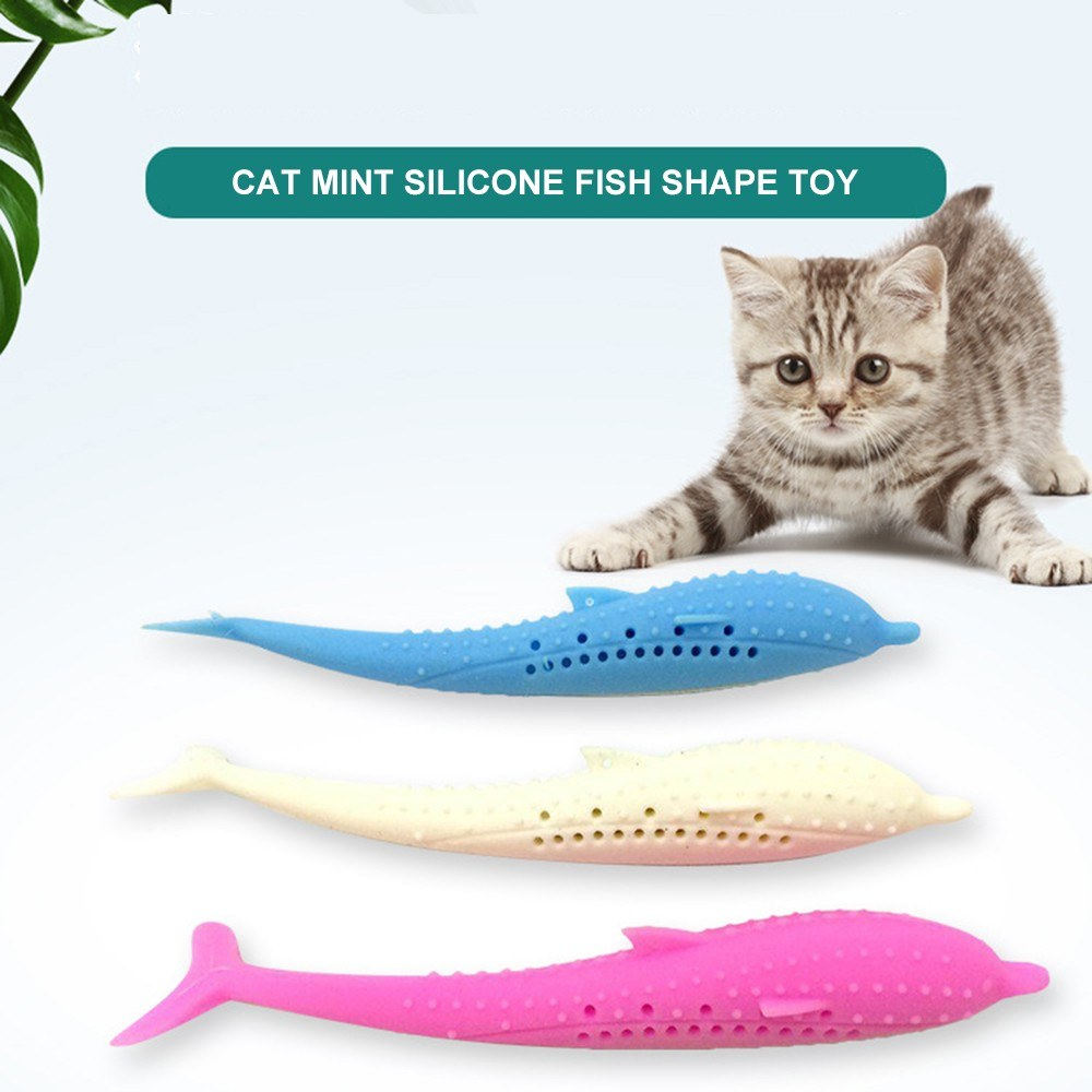 Cat Catnip Toys Fish Shape Toothbrush with Catnip Silicone Molar Stick