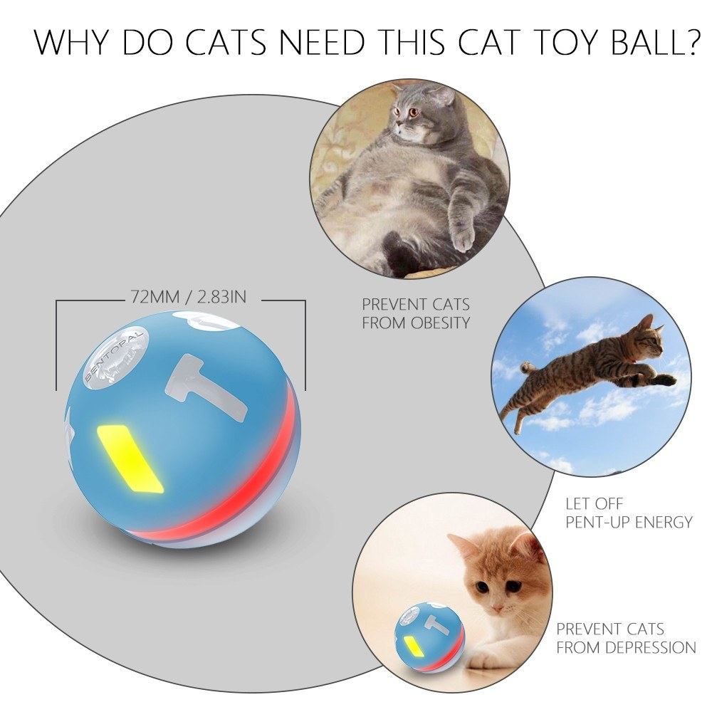 Smart Interactive Cat Toy Ball USB Rechargeable Rolling Ball for Kitty Puppy