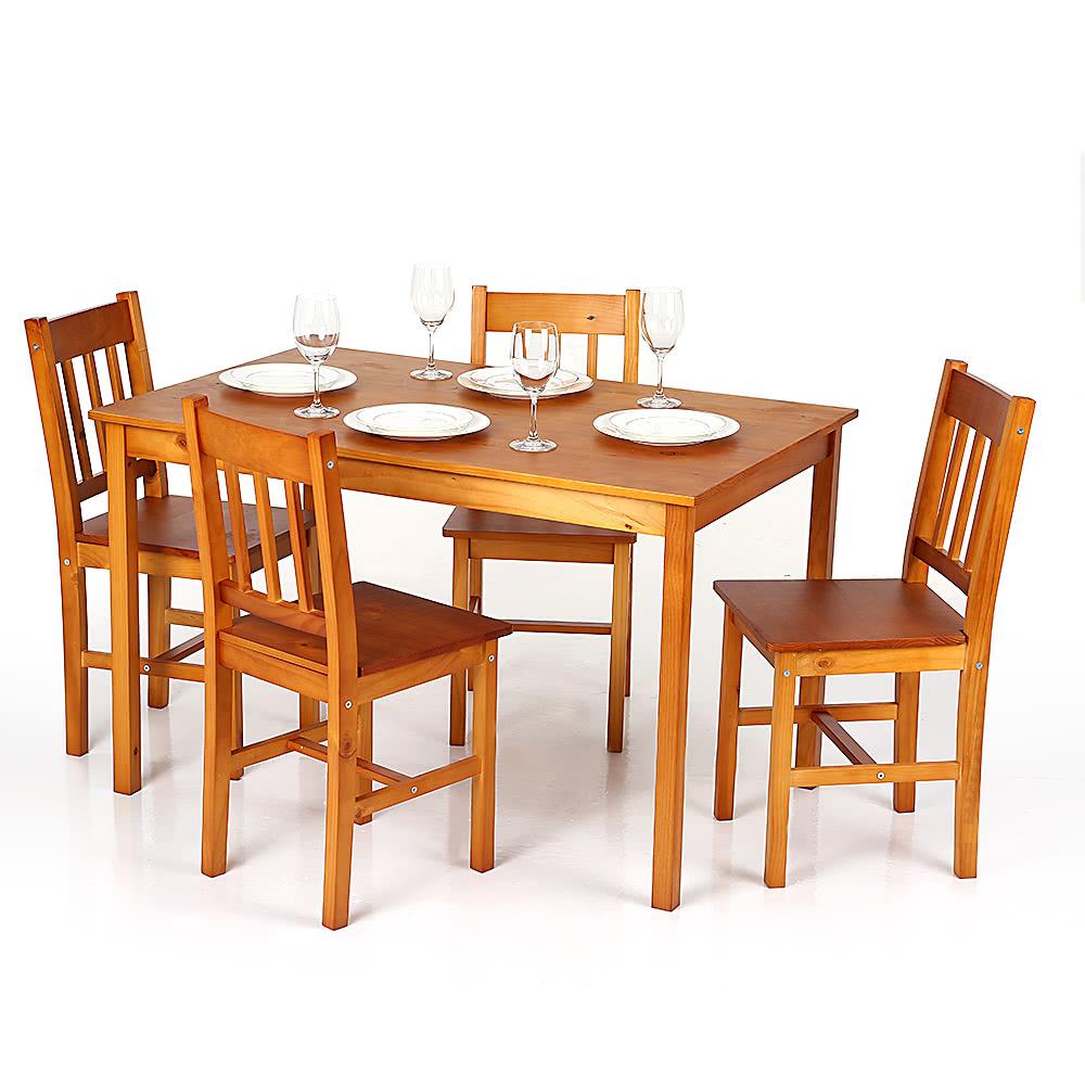 Ikayaa mesa de comedor de madera moderna 5pcs comedor de for Liquidacion mesas sillas jardin
