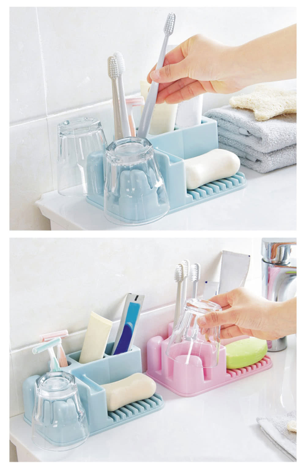 Practical Bathroom Organizer PP Storage Rack Toothbrush Stand ...