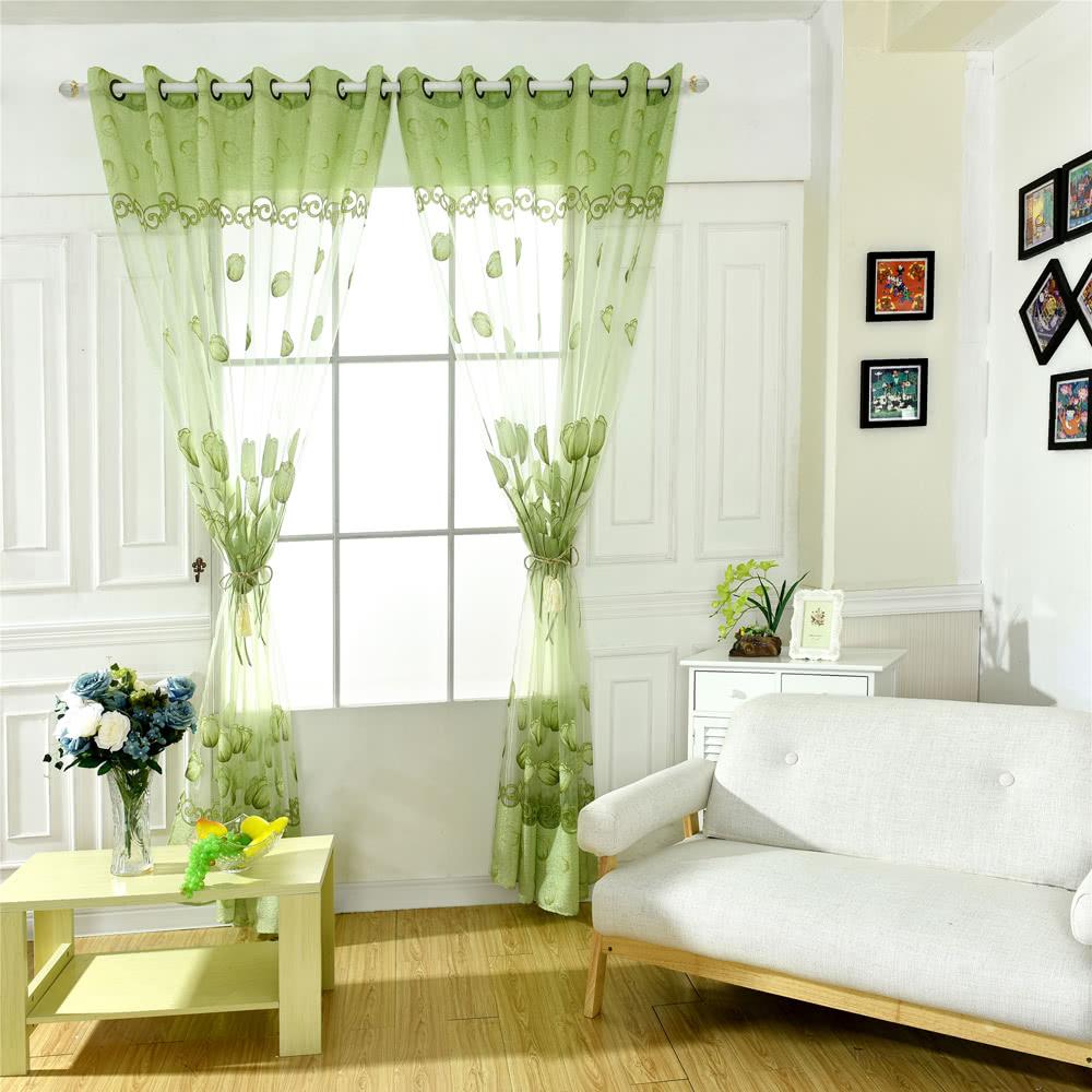 anself tulip fleurs jacquard burnt out half ombrage voile rideau pour porte fen tre chambre. Black Bedroom Furniture Sets. Home Design Ideas