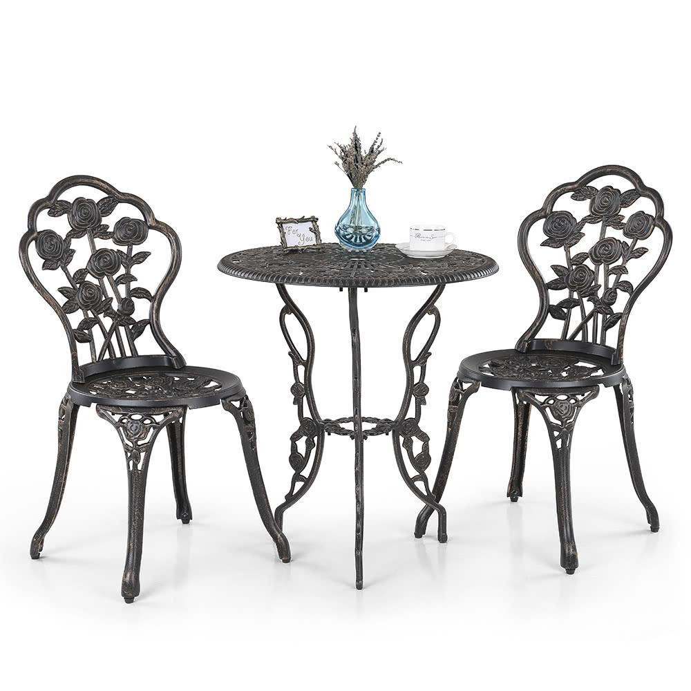 Ikayaa 3pcs modern outdoor patio bistro set iron aluminum - Sillas en hierro forjado ...