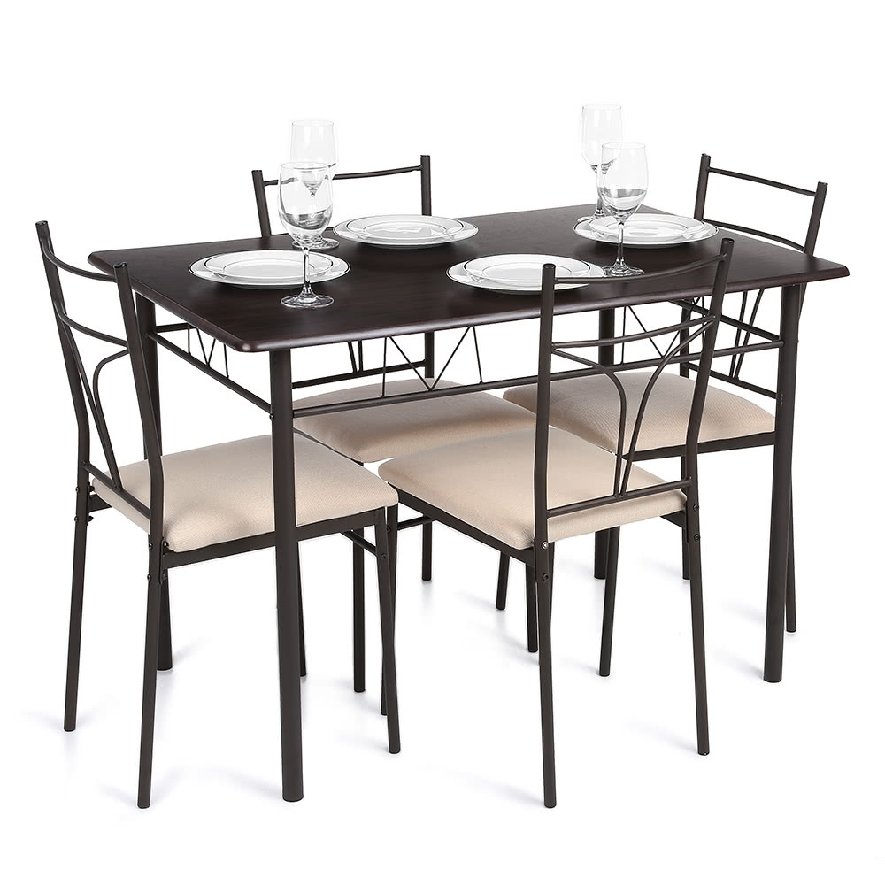 IKayaa 5PCS Modern Metal Frame Dining Kitchen Table Chairs