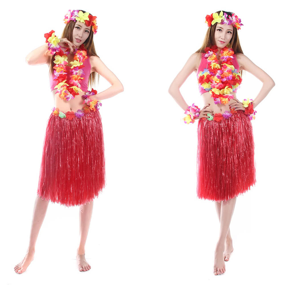 Anself New Handmade Hawaiian Costumes 24u0026quot; Dance Kit Hawaii Hula-hula Hula Skirt 6PCS Set Women ...