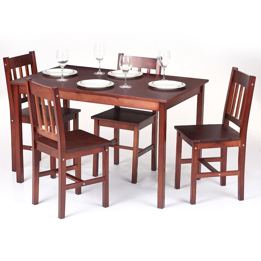 Ikayaa mesa de comedor de madera moderna 5pcs comedor de for Muebles sillas comedor modernas