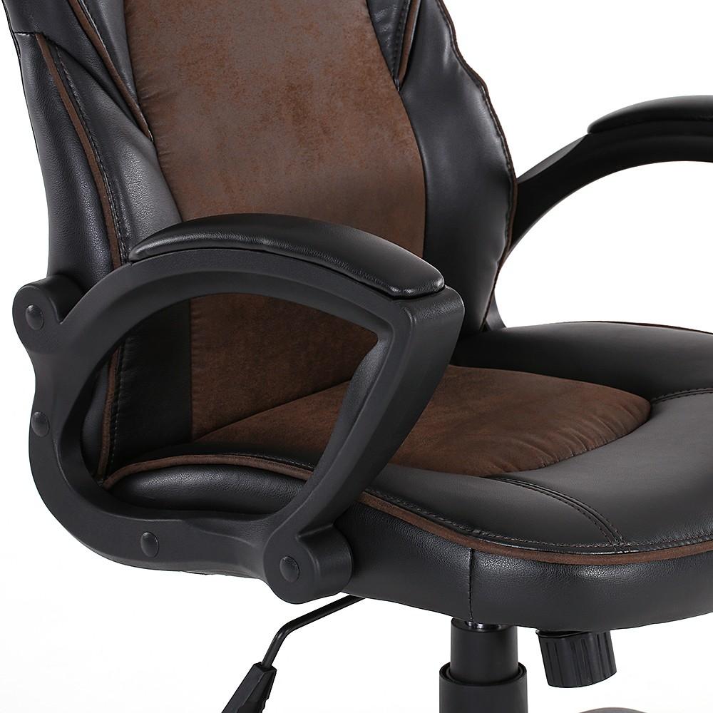 IKayaa Fashion PU Leather Racing Style Executive Office Chair Adjustable  360°Swivel High Back Computer Task Desk Chair Bucket Seat Design
