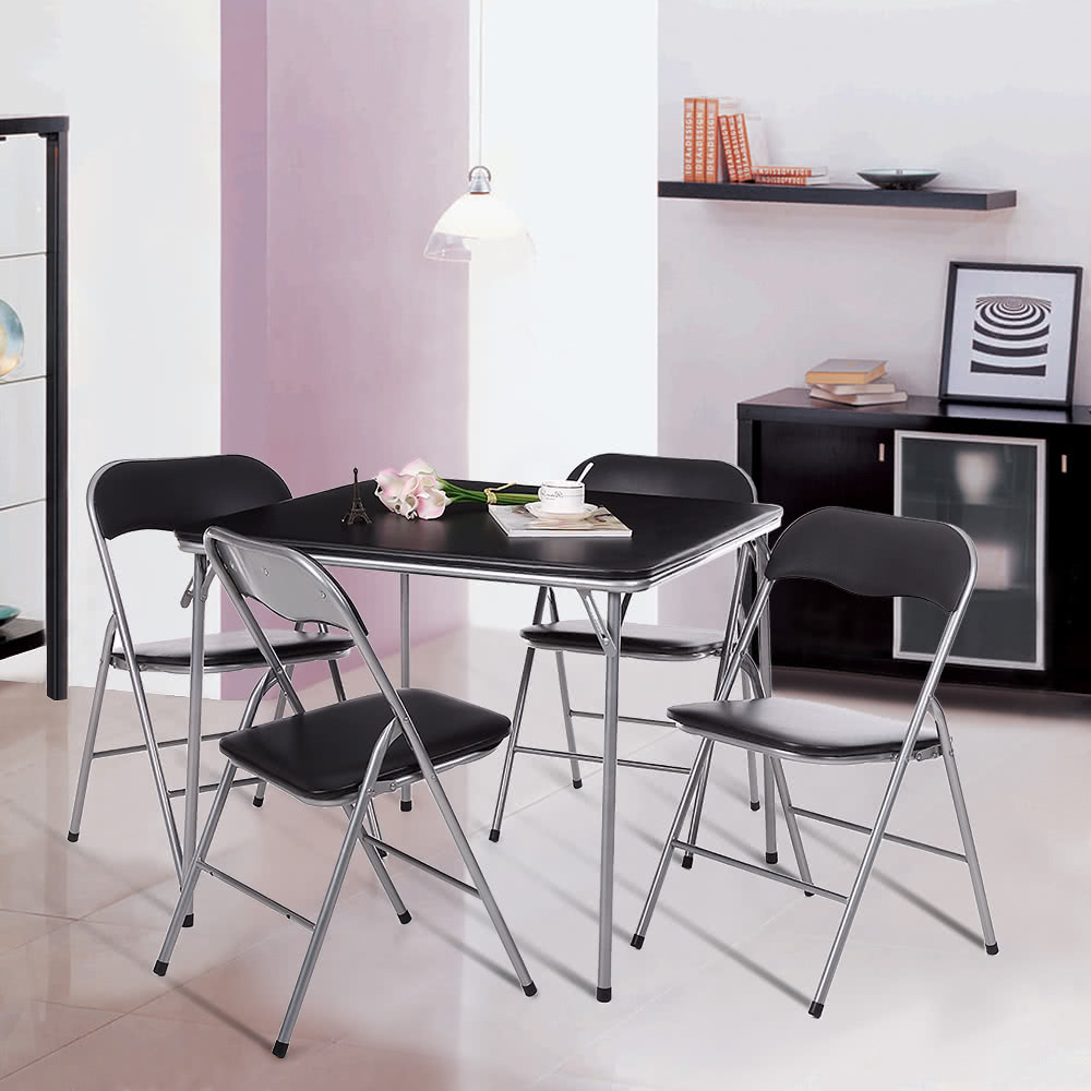 Ikayaa 5pcs metal folding kitchen dining table chair set for Foldable kitchen set