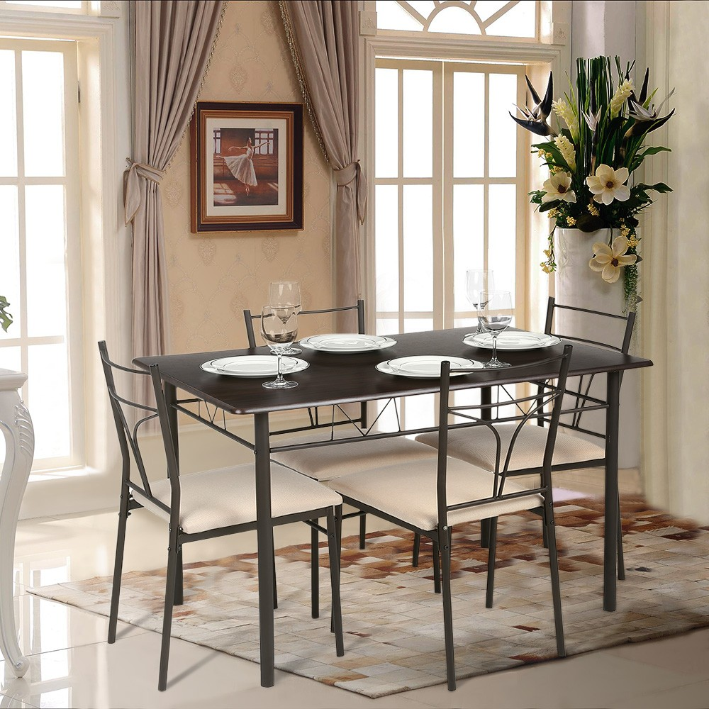 IKayaa 5PCS Modern Metal Frame Dining Kitchen Table Chairs Set For 4 Person Furniture 120kg Load Capacity Sales Online Brown