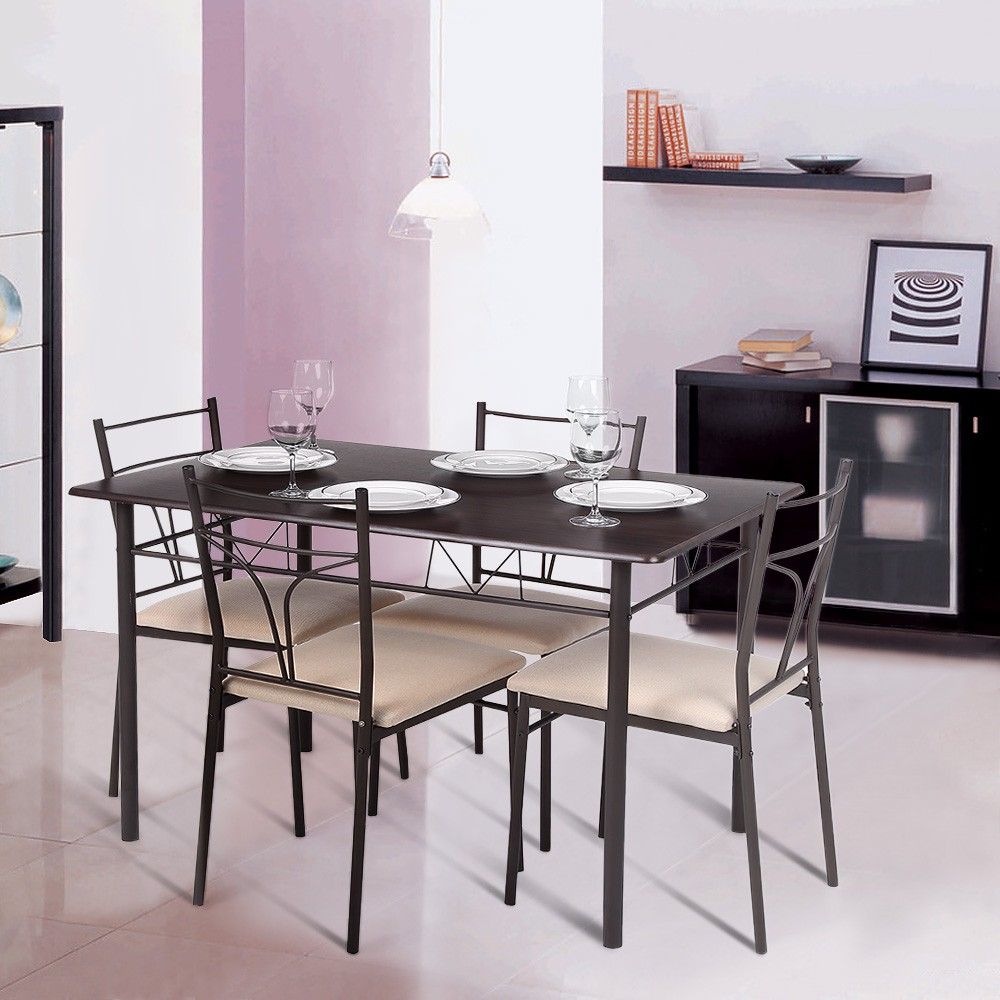IKayaa 5PCS Modern Metal Frame Dining Kitchen Table Chairs Set Sales Online  Brown   Tomtop