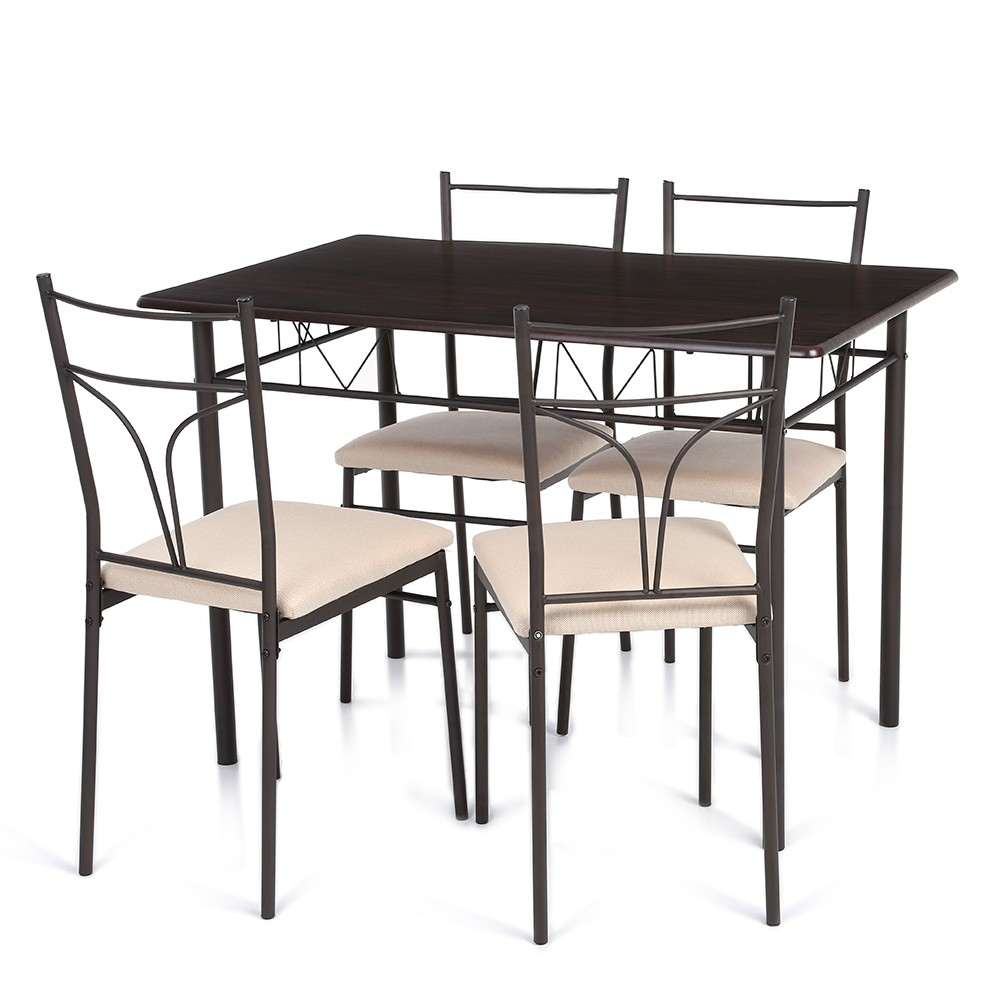 ikayaa 5pcs cadre en m tal moderne chaise de table de cuisine manger r glable pour meubles de. Black Bedroom Furniture Sets. Home Design Ideas