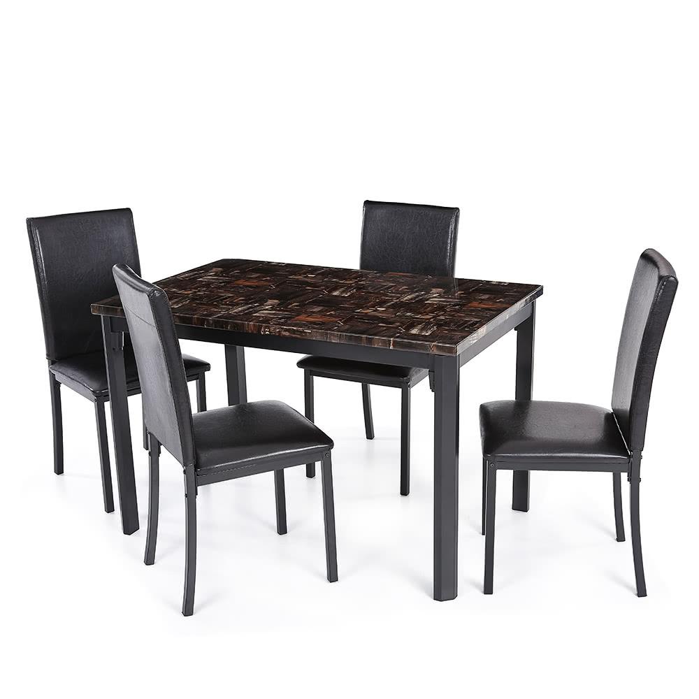 Ikayaa 5pcs moderne cuisine salle manger table chair set for Set cuisine moderne