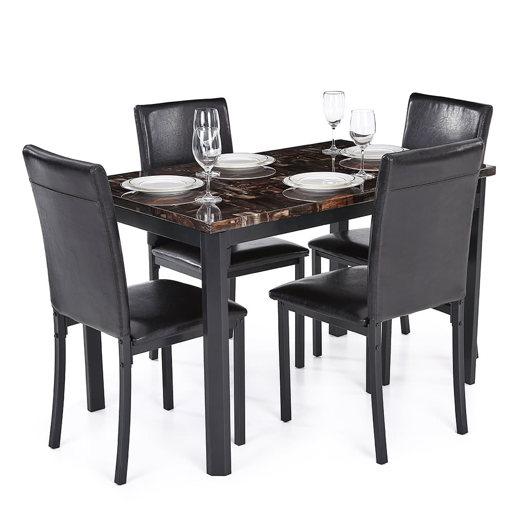 Ikayaa 5pcs moderne cuisine salle manger table chair set for Belle table a manger