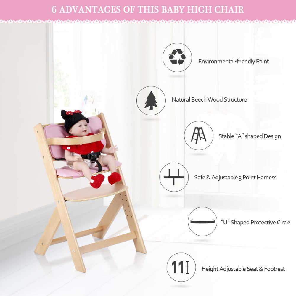 iKayaa bambino bambino di legno alta sedia con l\'ammortizzatore ...
