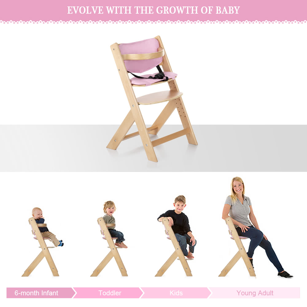 iKayaa Toddler Baby Wooden High Chair with Cushion Height Adjustable Beech Wood Highchairs for Kids Infant Feeding Dining Chair Sales Online us - Tomtop  sc 1 st  Tomtop.com & iKayaa Toddler Baby Wooden High Chair with Cushion Height Adjustable ...