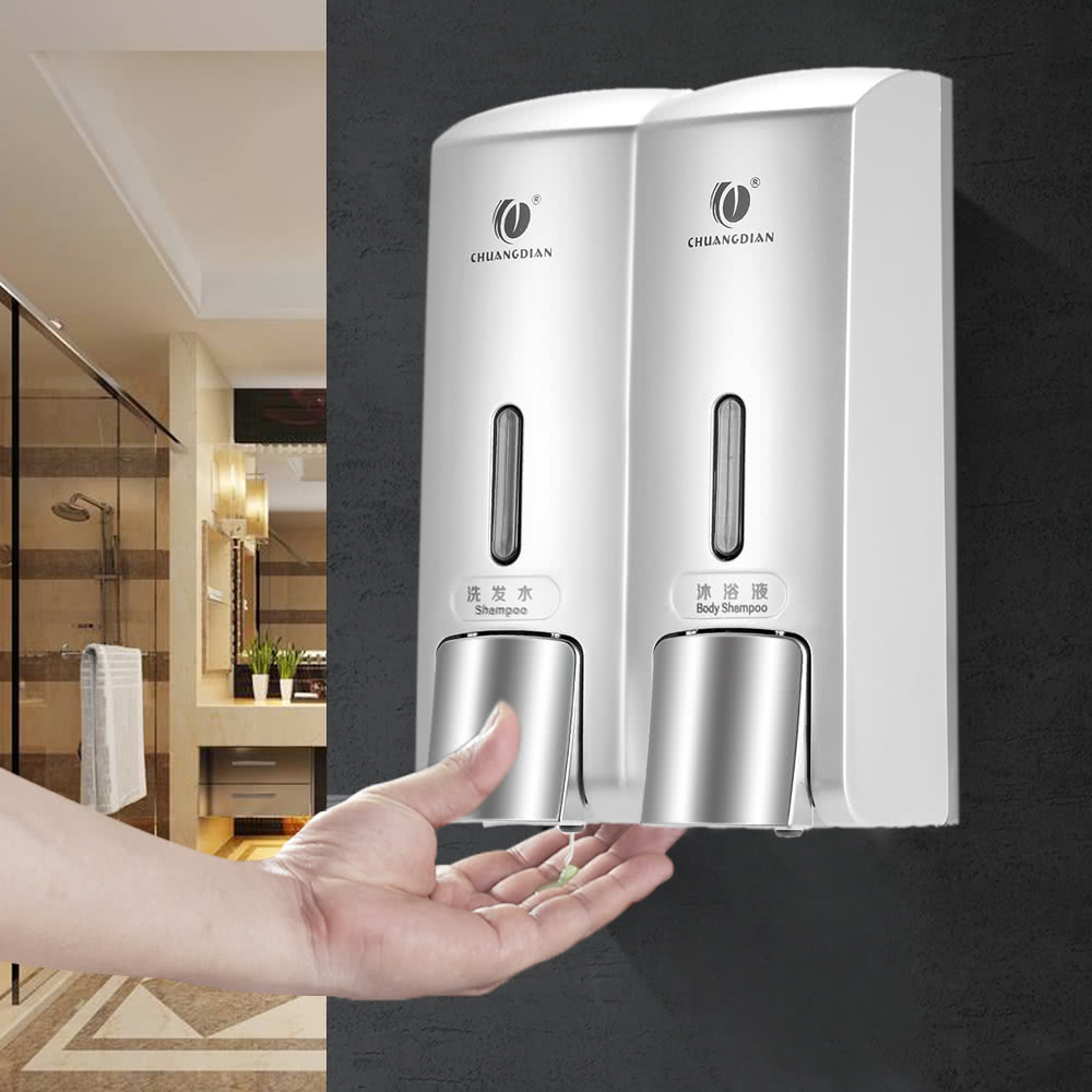 CHUANGDIAN Wall-mounted Two Chamber Manual Soap Dispensers Shampoo ...