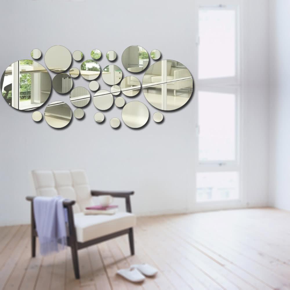 26pcs / set Acrylpolka-Punkt-Wand-Spiegel-Aufkleber-Raum ...
