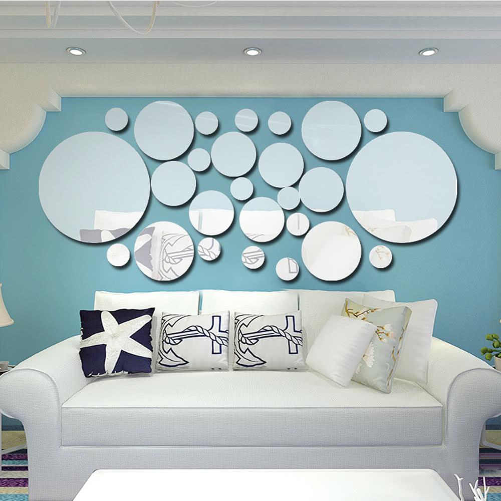 26pcs/set Acrylic Polka Dot Wall Mirror Stickers Room Bedroom ...