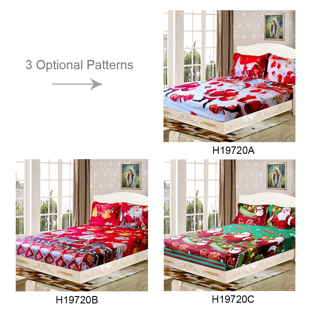 3pcs Set Christmas Santa Bedding Set Micro Fiber 3d Printed Fitted