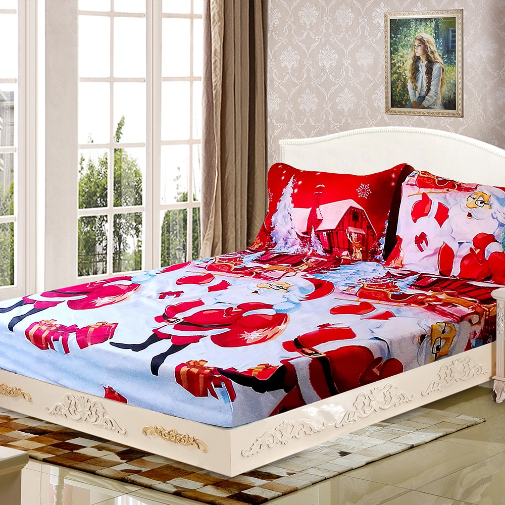 3pcs set christmas santa bedding set micro fiber 3d for Bed sheet decoration ideas