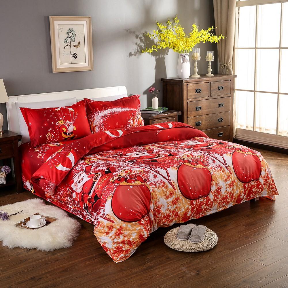 weihnachten santa bettw sche set polyester 3d gedruckt bettbezug 2 st cke kissenbez ge. Black Bedroom Furniture Sets. Home Design Ideas