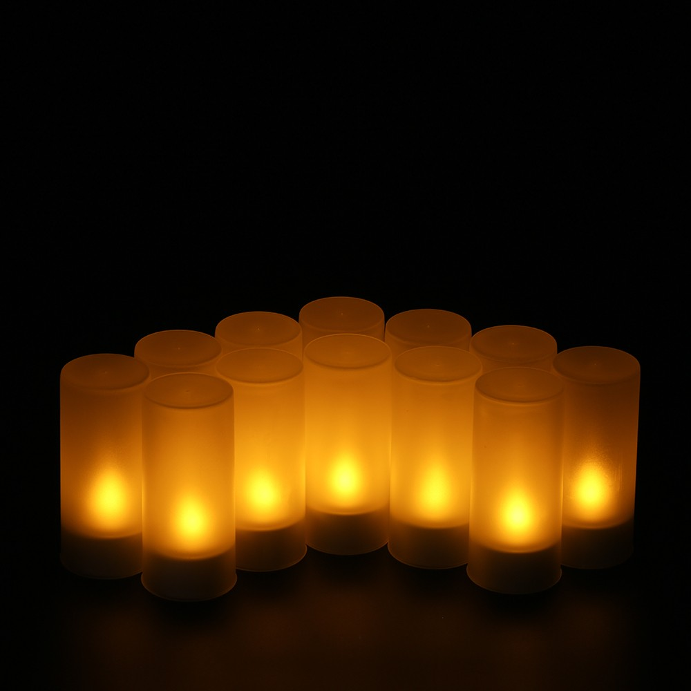 12 Pcs Rechargeable Led Flameless Tealight Candles Lights Sales Flickering Candle Flamewax Candleled Electronic Circuit