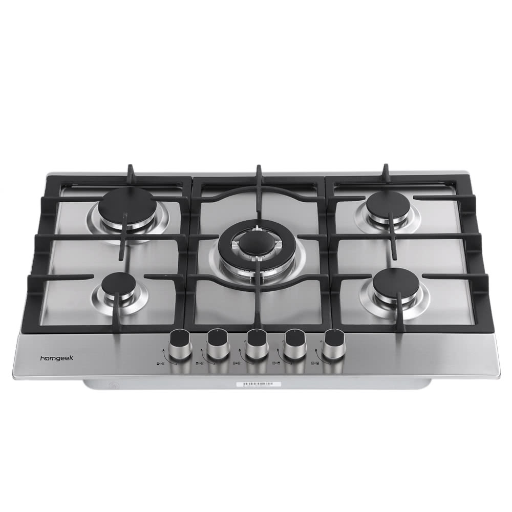 homgeek 75cm int gr e cuisini re gaz 5 br leurs gaz en acier inoxydable hob cuisine. Black Bedroom Furniture Sets. Home Design Ideas