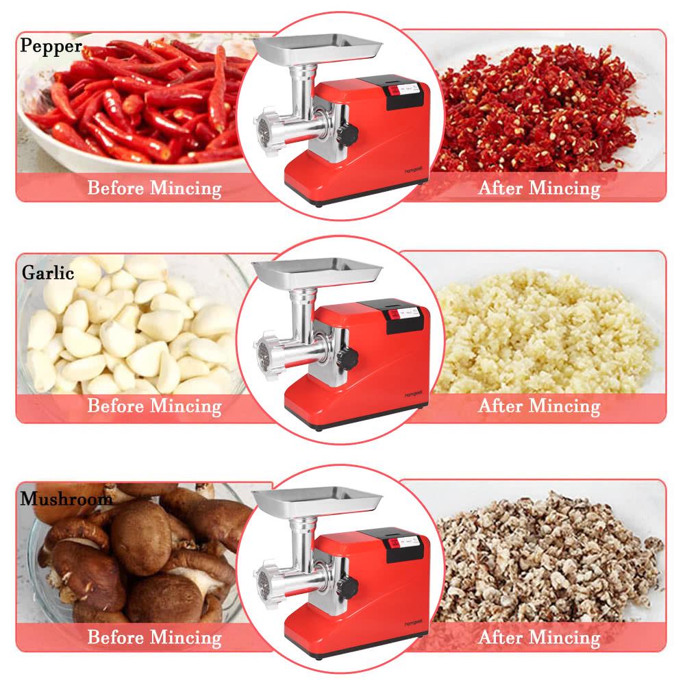Homgeek 110 240 1800w 2 6hp el ctrica m quina de picar carne de salchicha hogar y comercial - Picadora alimentos ...