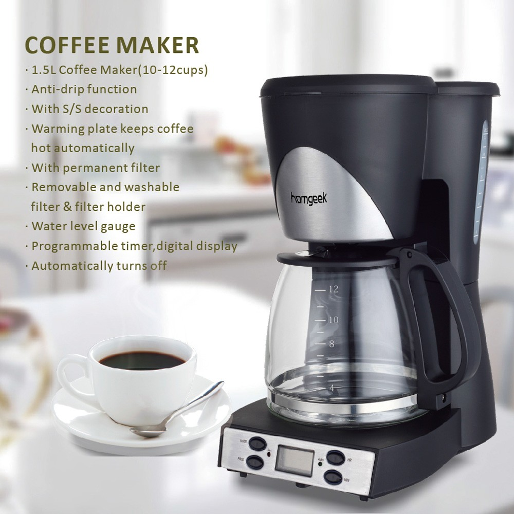 Homgeek high end 1 5l coffee maker 12 cups programmable for Apartment coffee maker