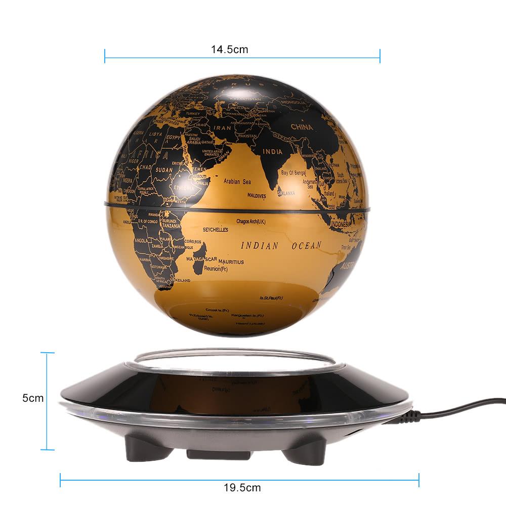 6 Led Floating Maglev Globe Awesome Magnetic Levitation Excellent Desktop Decor Tellurion