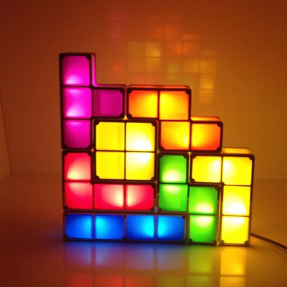 7pcs Diy Tetris Puzzle Led Light Stackable Desk Table Lamp