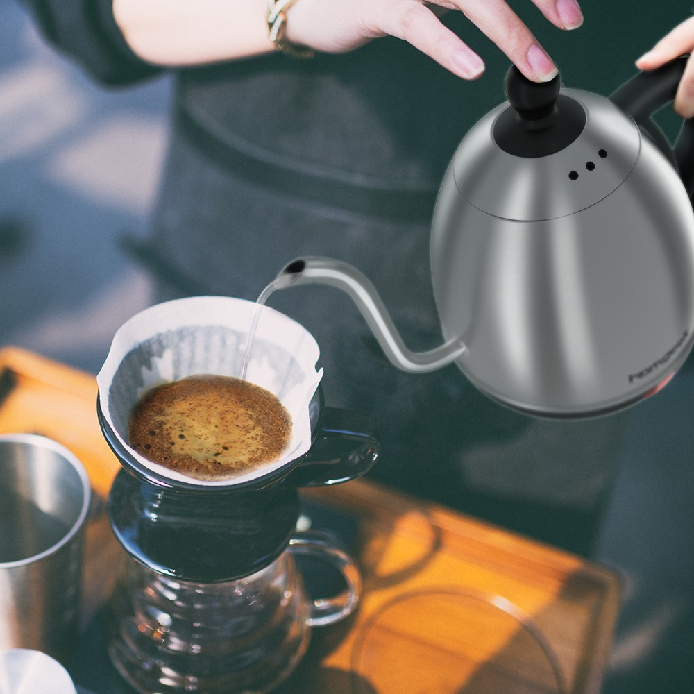 homgeek 1 0l en acier inoxydable sans fil lectrique bouilloire caf cruche caf pot haut de. Black Bedroom Furniture Sets. Home Design Ideas