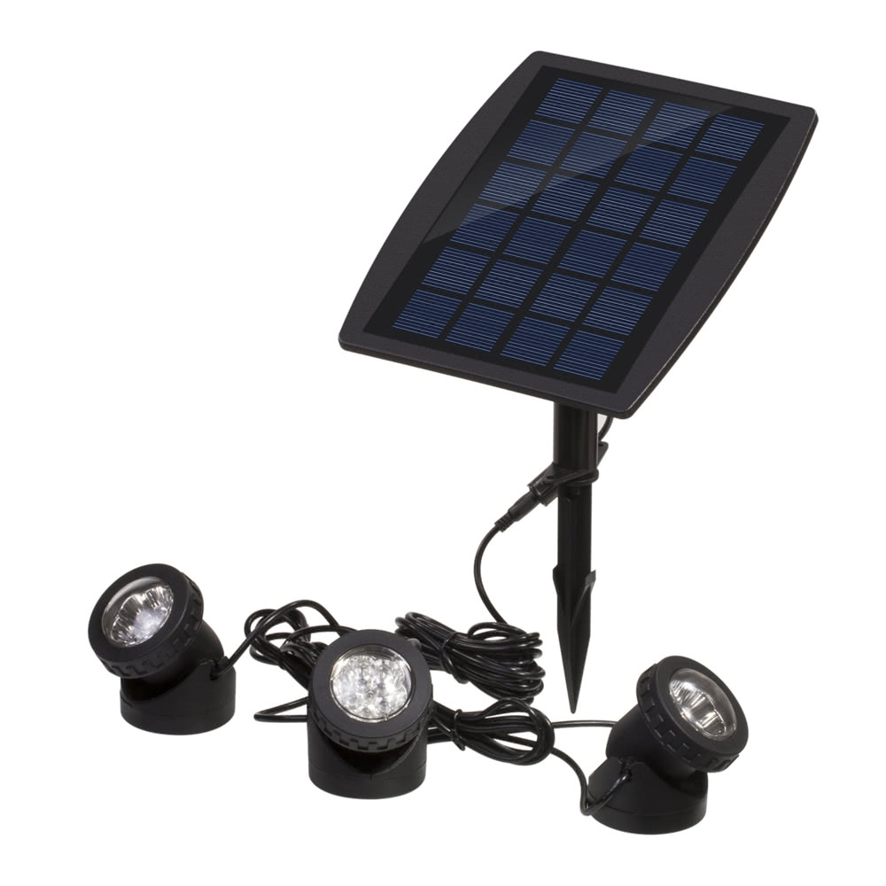 Solar Powered Super Bright 3 Submersible Lamps 18 Leds