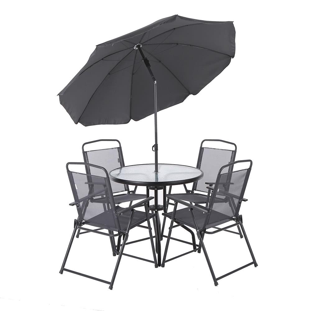 Ikayaa 6pcs outdoor mobili da pranzo arredamento w for Mobili da giardino metallo