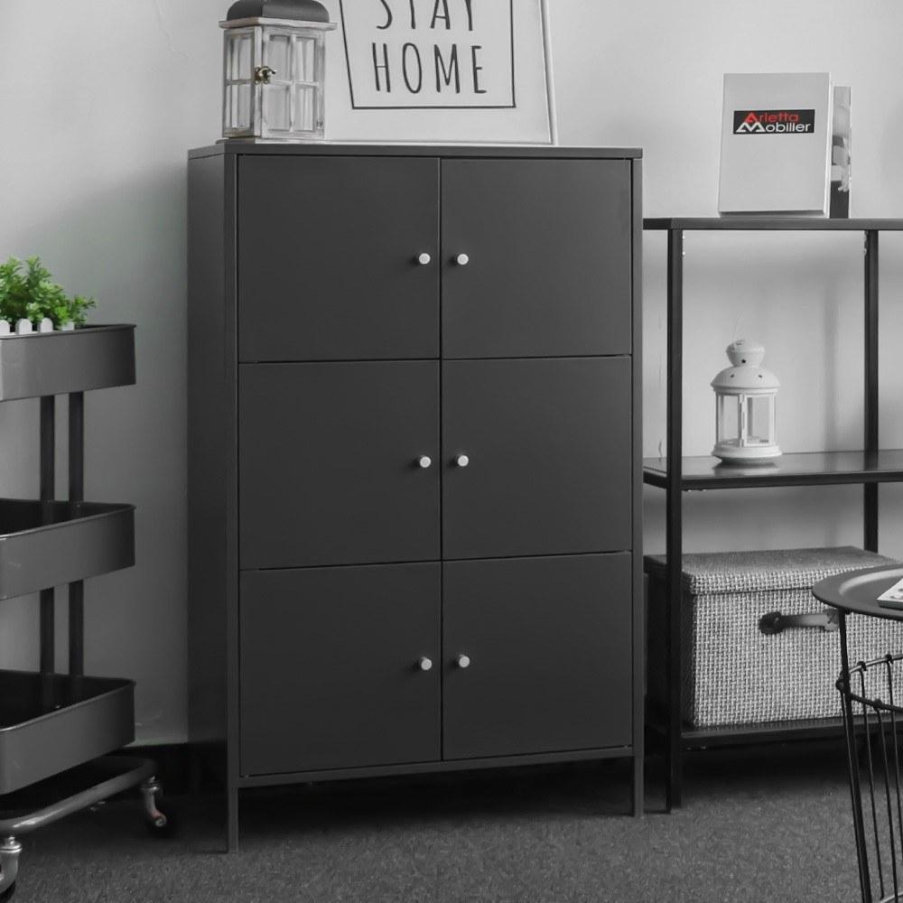 ikayaa moderne 6 t r boden schrank metallschr nke locker schlafzimmer badezimmerm bel dunkelgrau. Black Bedroom Furniture Sets. Home Design Ideas