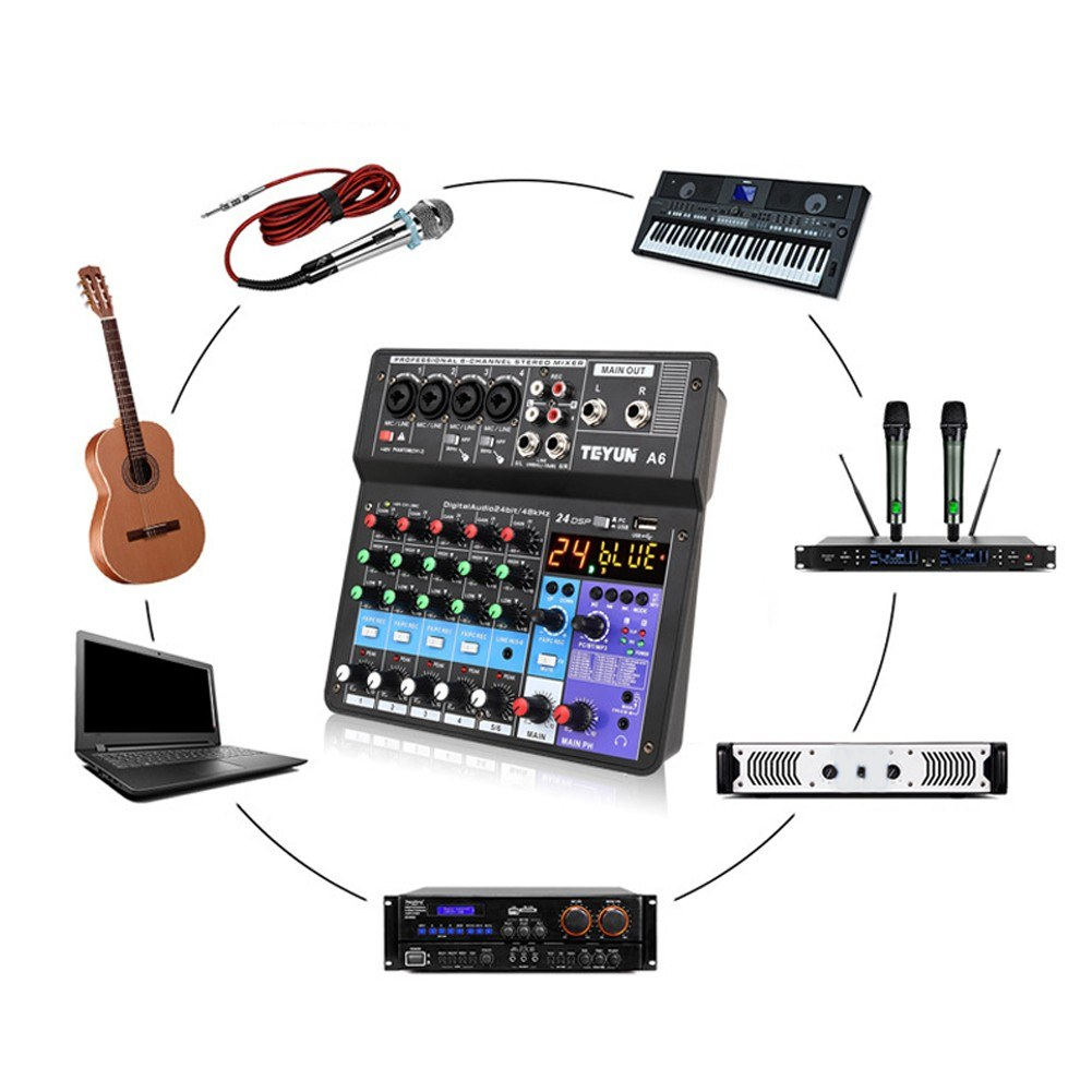 Tomtop - 61% OFF A6 6CH Protable Mini Mixer Audio Console with Sound Card, $61.99 (Inclusive of VAT)