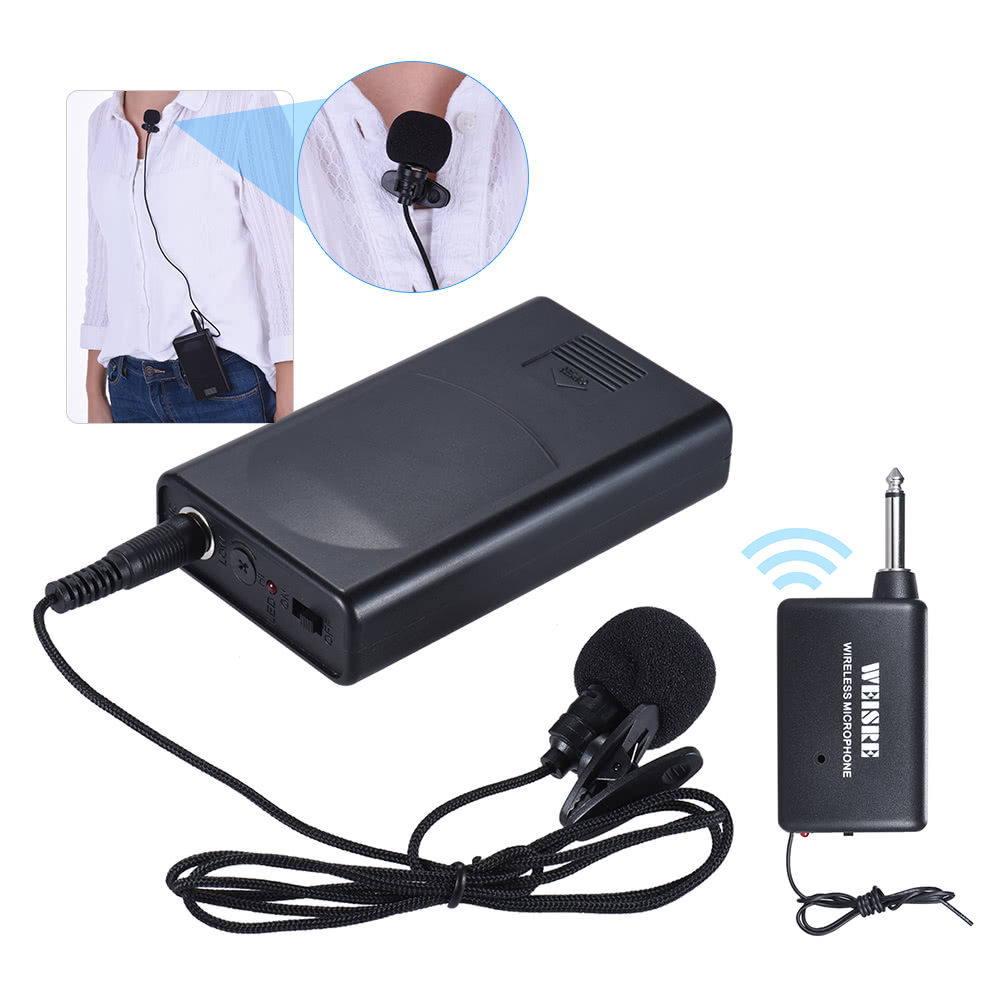 Portable Lavalier Lapel Collar Clip On Wireless Microphone Voice Speech Amplifier Box For Lecture Conference Promotion
