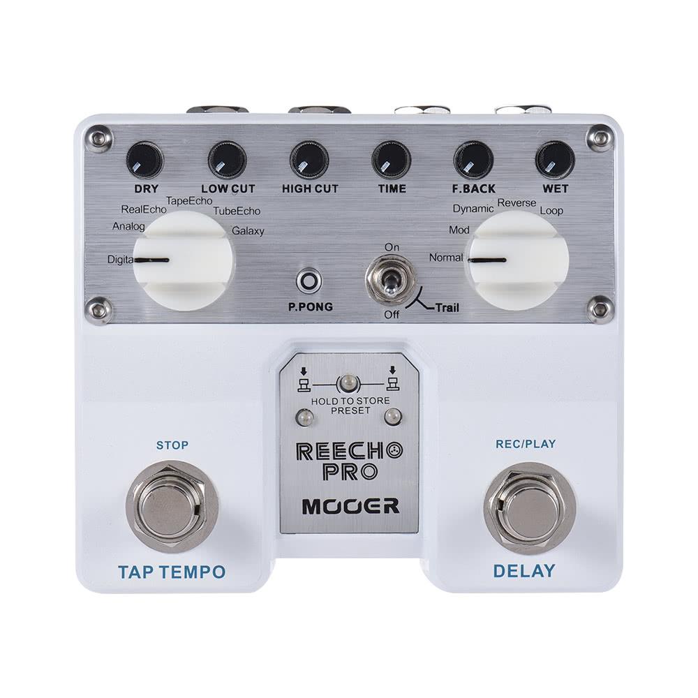 Mooer Reecho Pro Digital Delay Guitar Effect Pedal Twin Footswitch Efek Gitar Metal With 6 Effects Loop Recording 20 Seconds Function