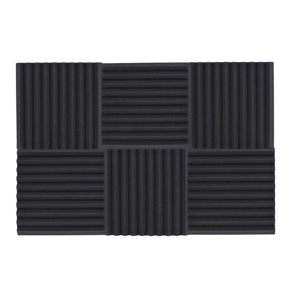 6 Pack Studio Acoustic Foams Sponge Panels Tiles Absorption Sound  Insulation Triangle Foam Flame-retardant High Density 50 * 50cm/ 20 * 20in