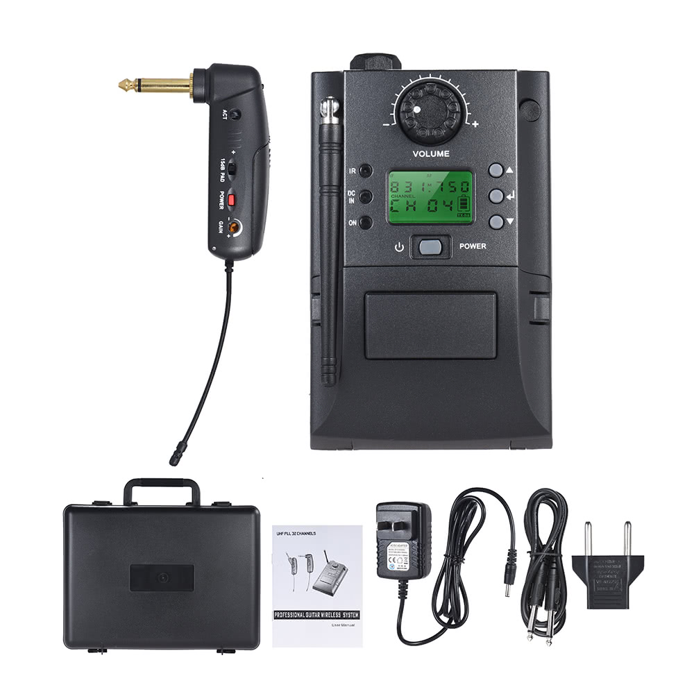 portable uhf instrument wireless microphone system with receiver transmitter 32 channels for. Black Bedroom Furniture Sets. Home Design Ideas
