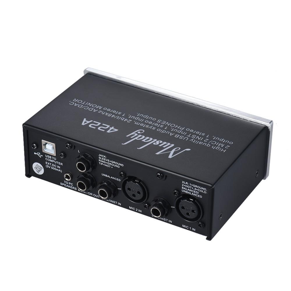 muslady 422a 4 channel usb audio system interface external sound card 48v phantom power dc 5v. Black Bedroom Furniture Sets. Home Design Ideas