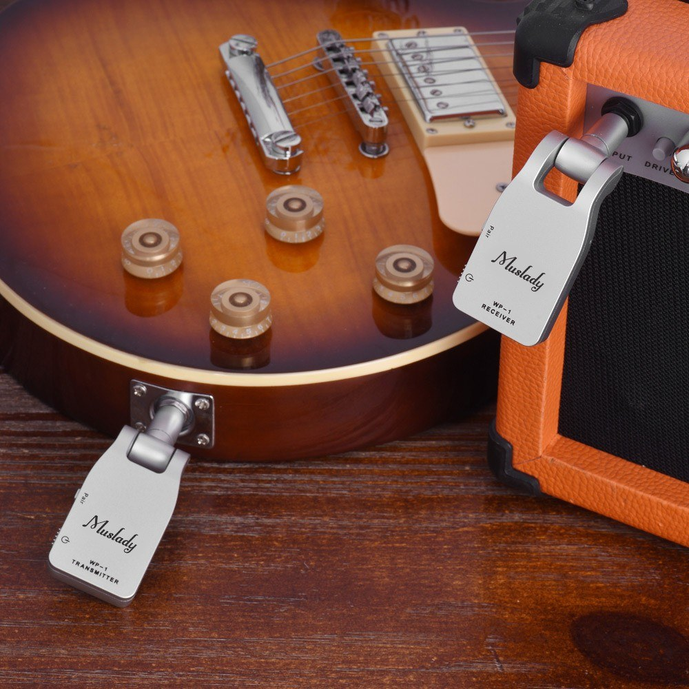 best muslady 2 4g wireless guitar system transmitter sale online shopping silver. Black Bedroom Furniture Sets. Home Design Ideas