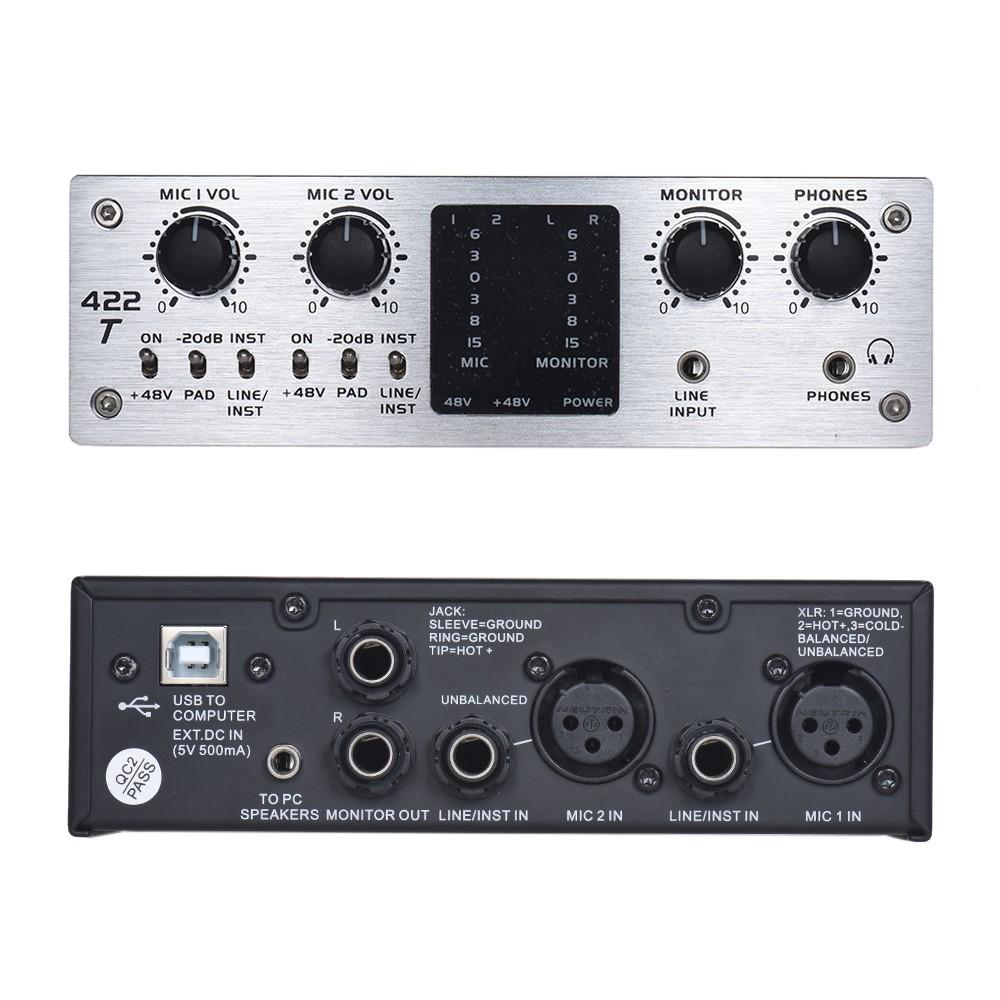 icm 422t 4 channel usb audio system interface external sound card 48v phantom power dc 5v power. Black Bedroom Furniture Sets. Home Design Ideas