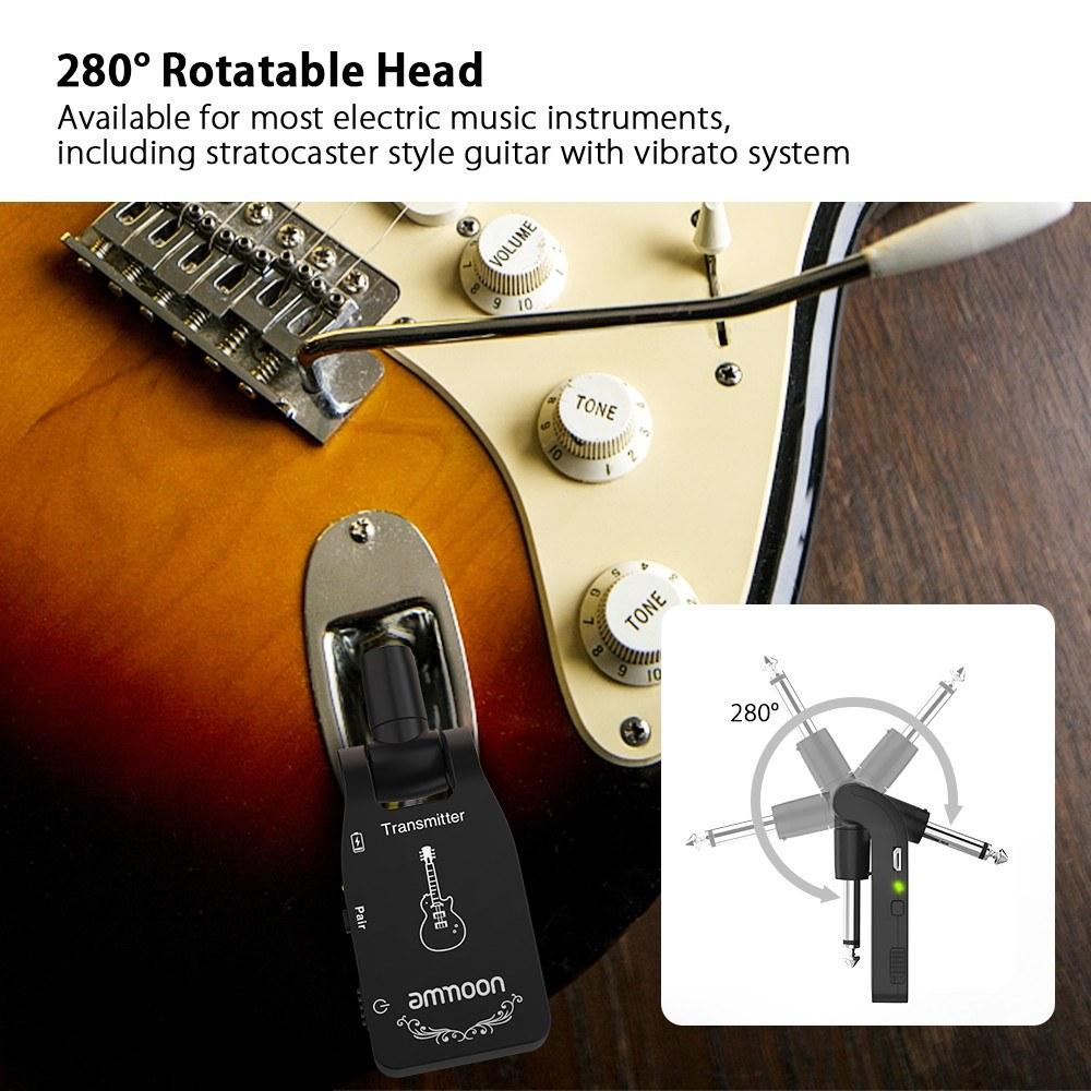 ammoon wireless guitar system for sale us black tomtop. Black Bedroom Furniture Sets. Home Design Ideas