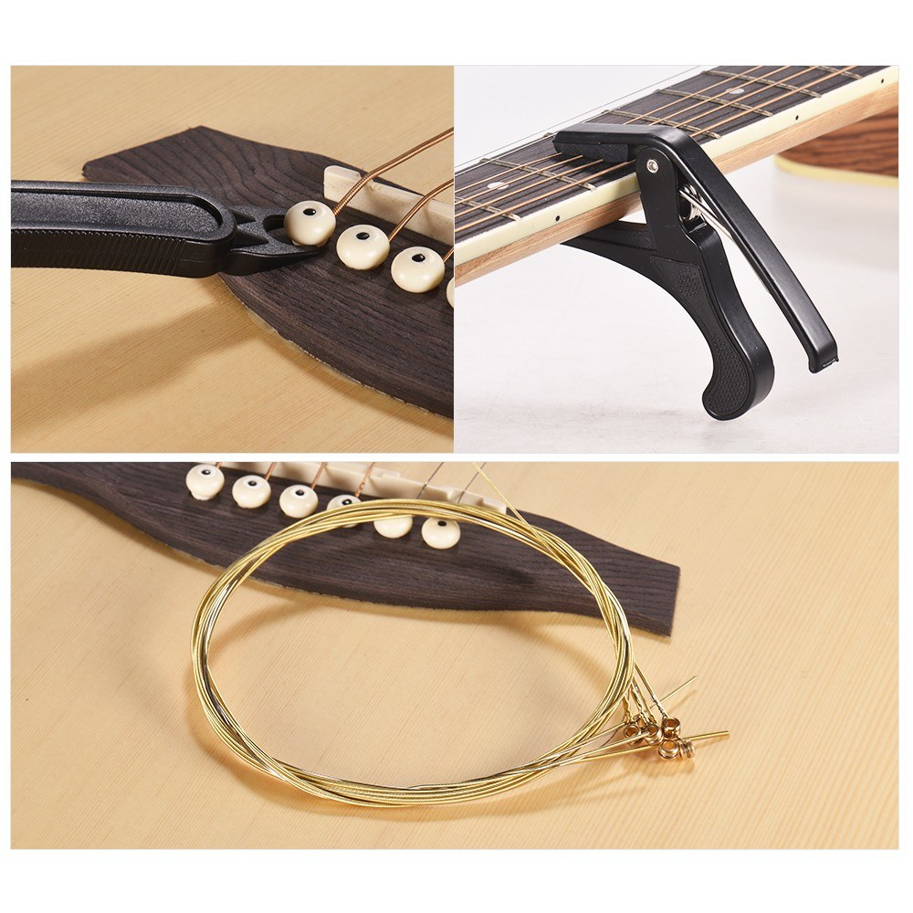 Guitar DIY Tool Kit for Beginners with Acoustic Guitar Strings Guitar Capo Multipurpose   String Winder Cutter Pin Puller Instrument Accessories Set