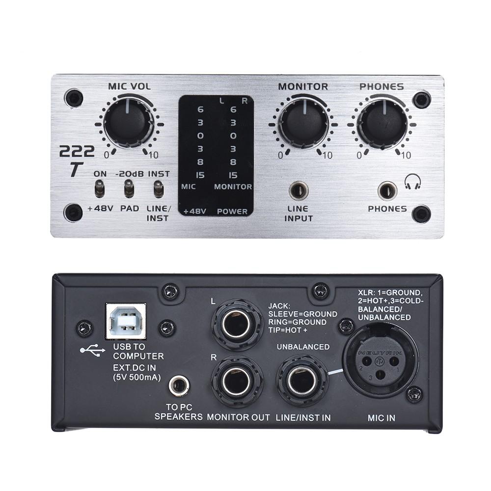 icm 222t 2 channel usb audio system interface external sound card 48v phantom power dc 5v power. Black Bedroom Furniture Sets. Home Design Ideas
