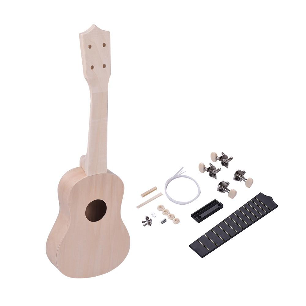 21 Inches Unfinished DIY Ukulele Ukelele Uke Kit Basswood Body & Neck Plastic Fingerboard & Bridge Nylon String for Ukulele Lovers for Sale - US$15.51 | ...